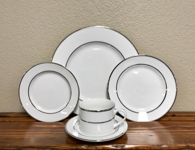 Where to find White   Double Rim Silver China in Corvallis